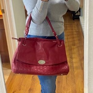 BCBGMaxazria Large Red Leather Tote Bag Purse